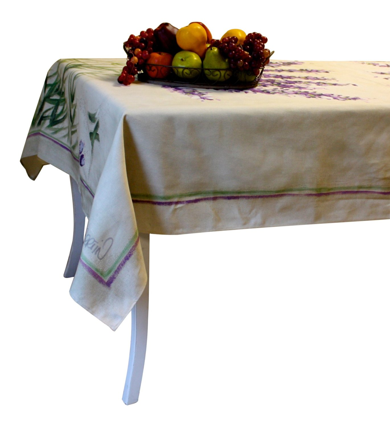 """Provence Tablecloth, French vintage design """"Lavender"""", Rectangular 98"""" x 63"""", 100% Cotton Twill - Made in France"""