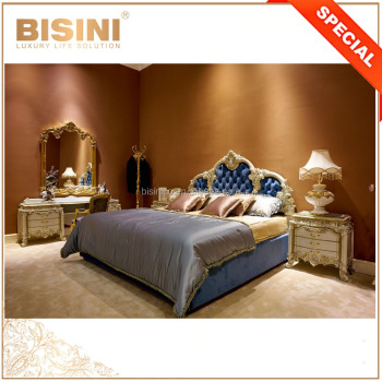 Antique Luxury Gold Trim French Style Bisini Bedroom Furniture Set/ Tufted Blue Upholstered Sleeping Room Set
