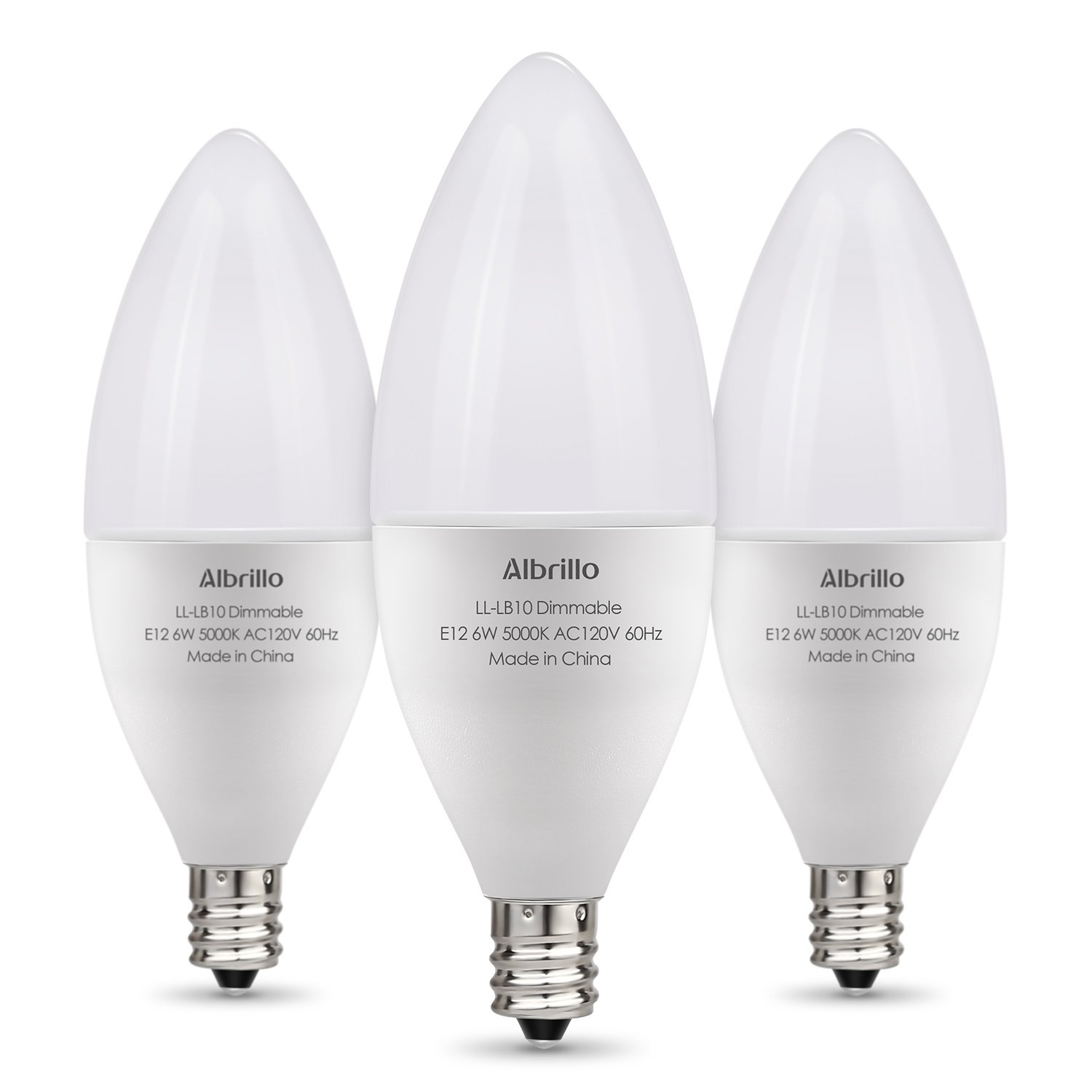 Albrillo E12 LED Bulb Dimmable Light Bulbs, 60 Watt Incandescent Equivalent, Bright White 5000K, 3 Pack