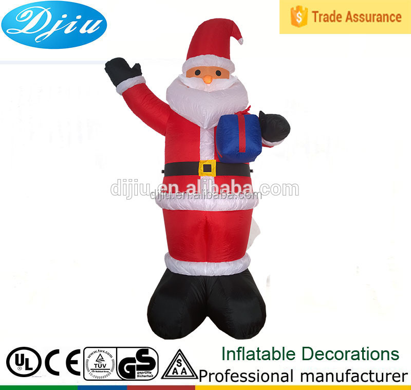 Promotion santa huging purple gift waving right hand inflatable christmas old man