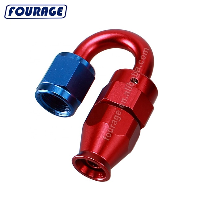 8 AN Fuel Line Hose Fitting 120 Degree AN8 Female to AN8 Hose End One Piece Full Flow Swivel Pipe Connector Red Blue Aluminum