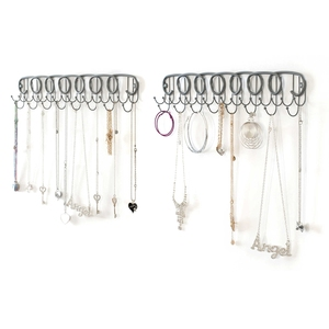 Wall mount hanging jewelry organizer for bracelet necklace