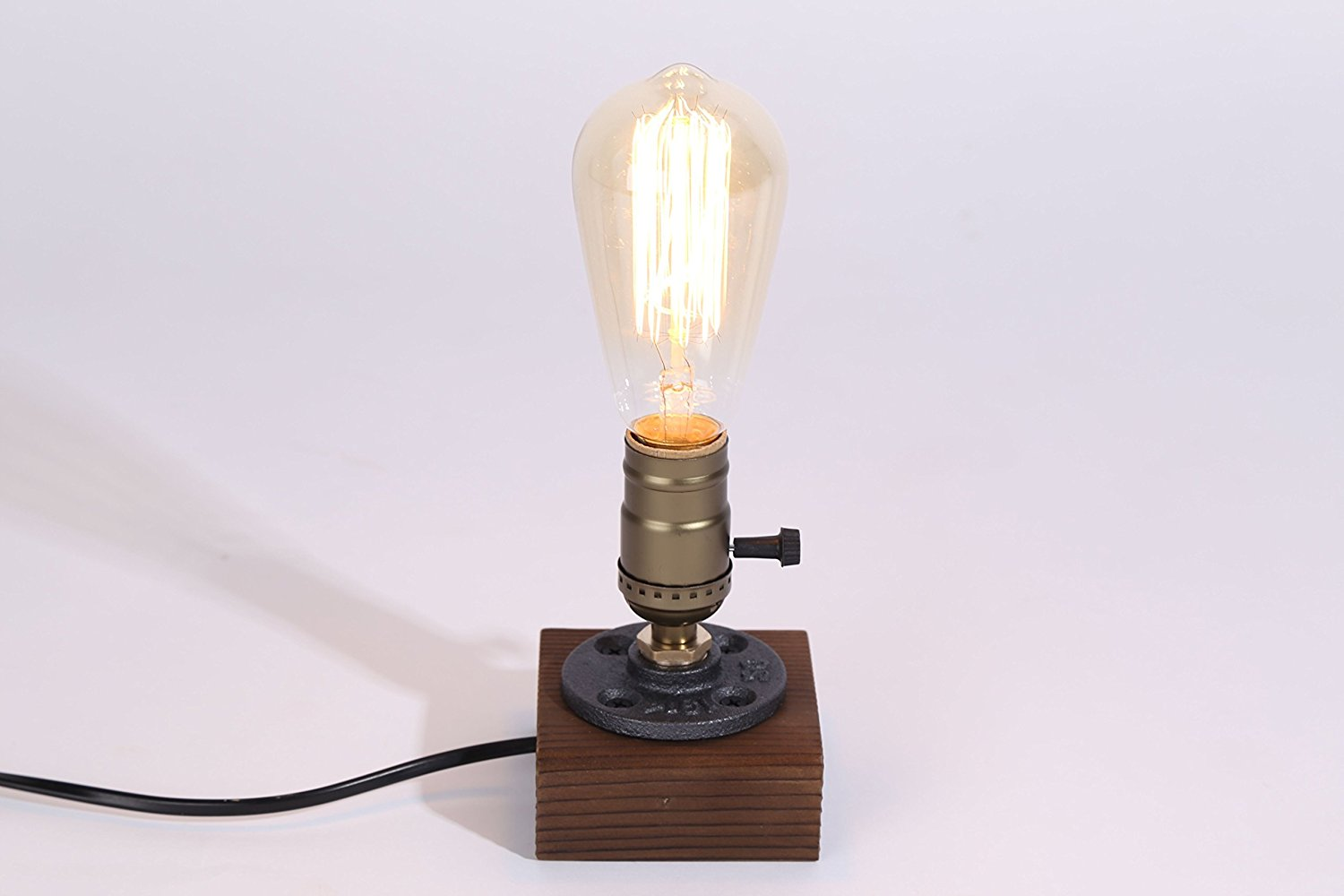 Kiven Vintage Decor Table Light Edison Bulb Wooden Desk Lamp Retro 1930s Home