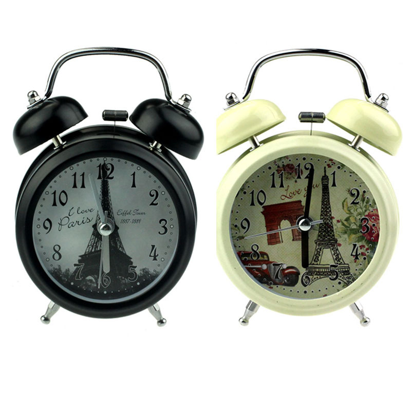get quotations retro double bell desk table alarm clock car tire clock for kids lighting optional style