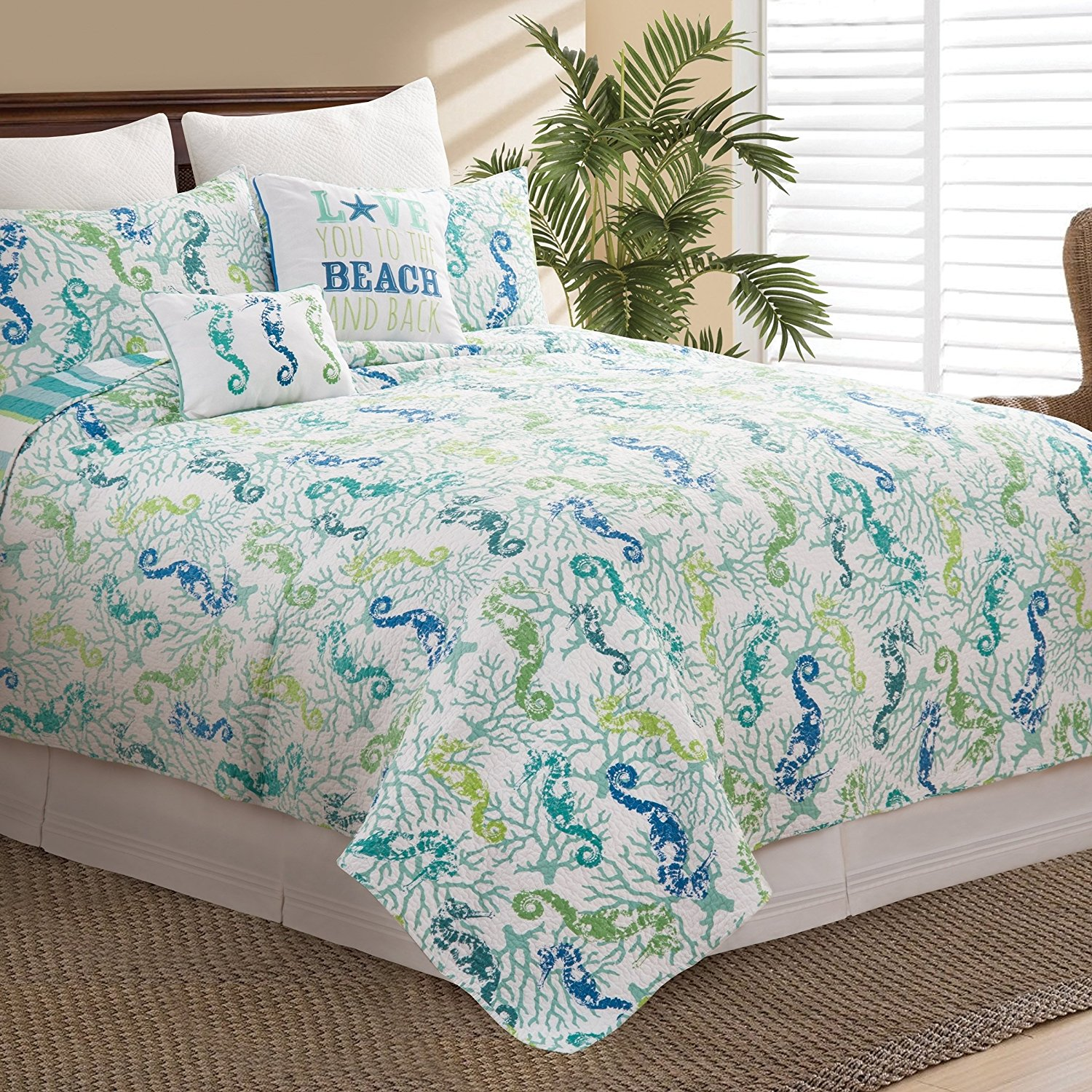 3 Piece Aqua Blue Green Coastal Pattern Quilt King Set, Elegant All Over Ocean Coral Floral Design Background, Deep Sea Animal Seahorses Print, Reversible Bedding, Abstract Bright Colors, Cotton