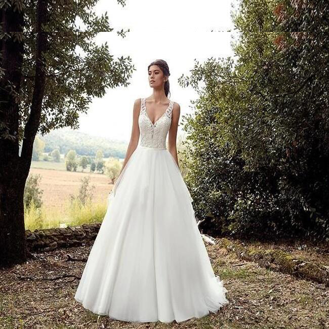 Estate Paese Occidentale Personalizzare Applique Backless Con Scollo A V Abito Da Sposa
