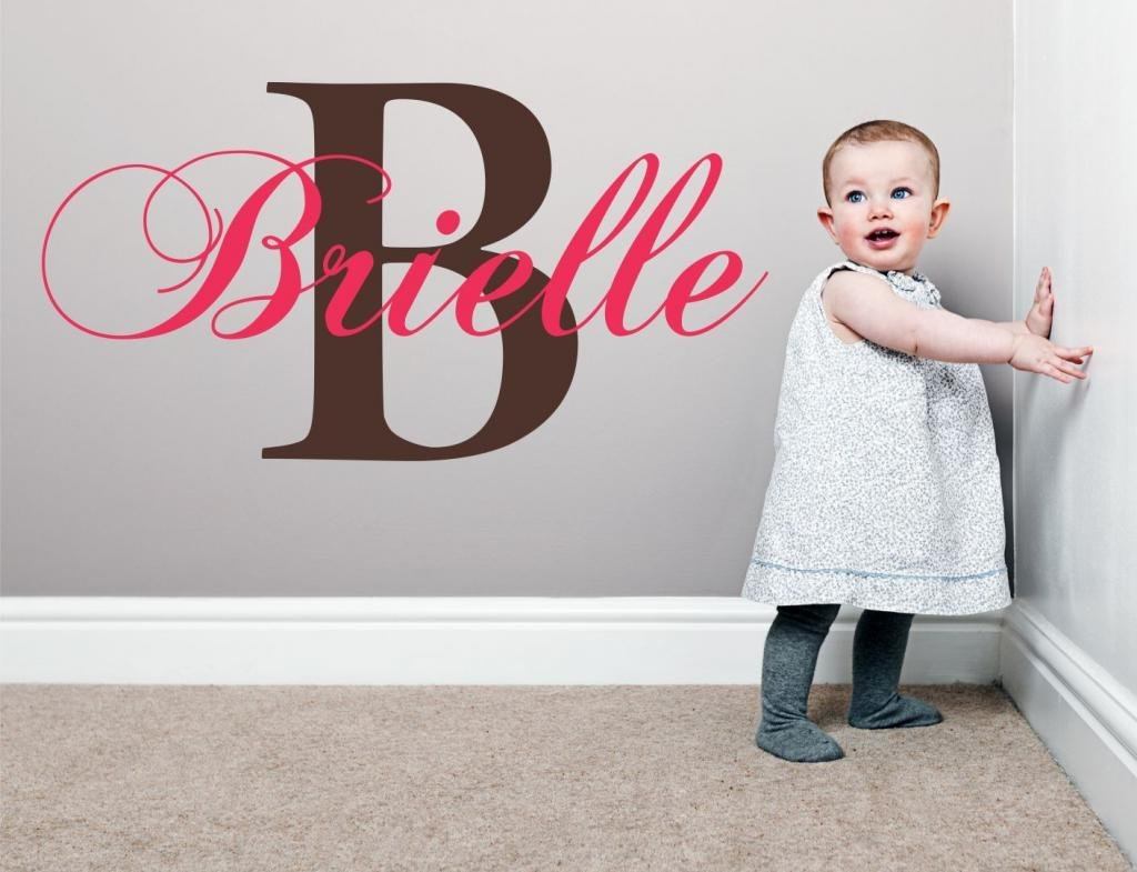 "Baby Girl Initial Personalized Custom Name Vinyl Wall Decal 28"" W by 16"" H, Girl Name Wall Decals, Wall Decal, Name Wall Decal, Nursery Name Decal, Girls Names, PLUS FREE WHITE HELLO DOOR DECAL"