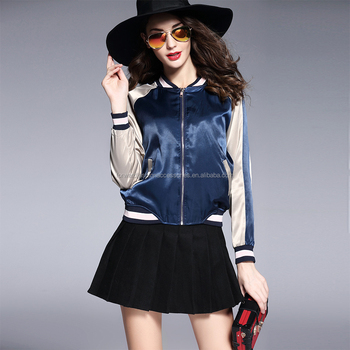 wholesale fashion satin spring varsity girl baseball jacket
