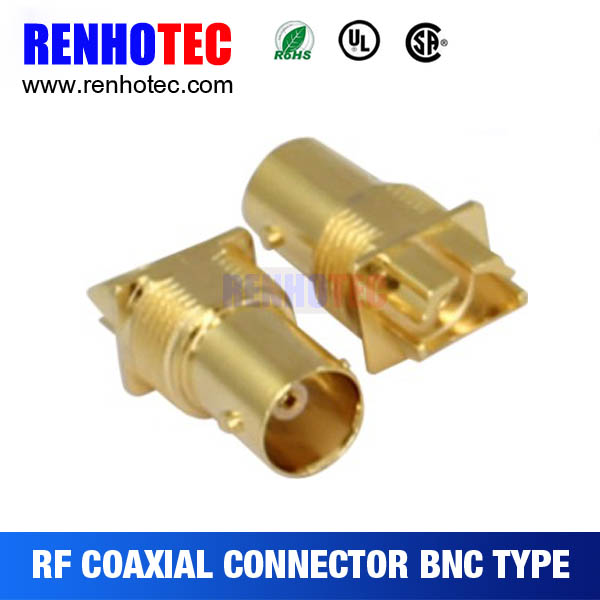 Gold Plating Isolate BNC Bulkhead Receptacle for PCB Edge Mount