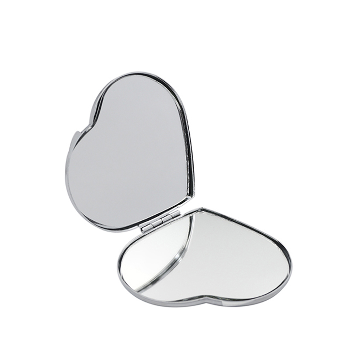 Wholesale custom double side heart shaped pocket size sublimation blank plain silver color metal cosmetic make up pocket mirror