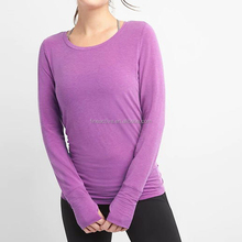 2018 Womens Pocket Long Sleeve Slim Sweatshirt Slim Fit Tops Dry Fit Sport T-shirts