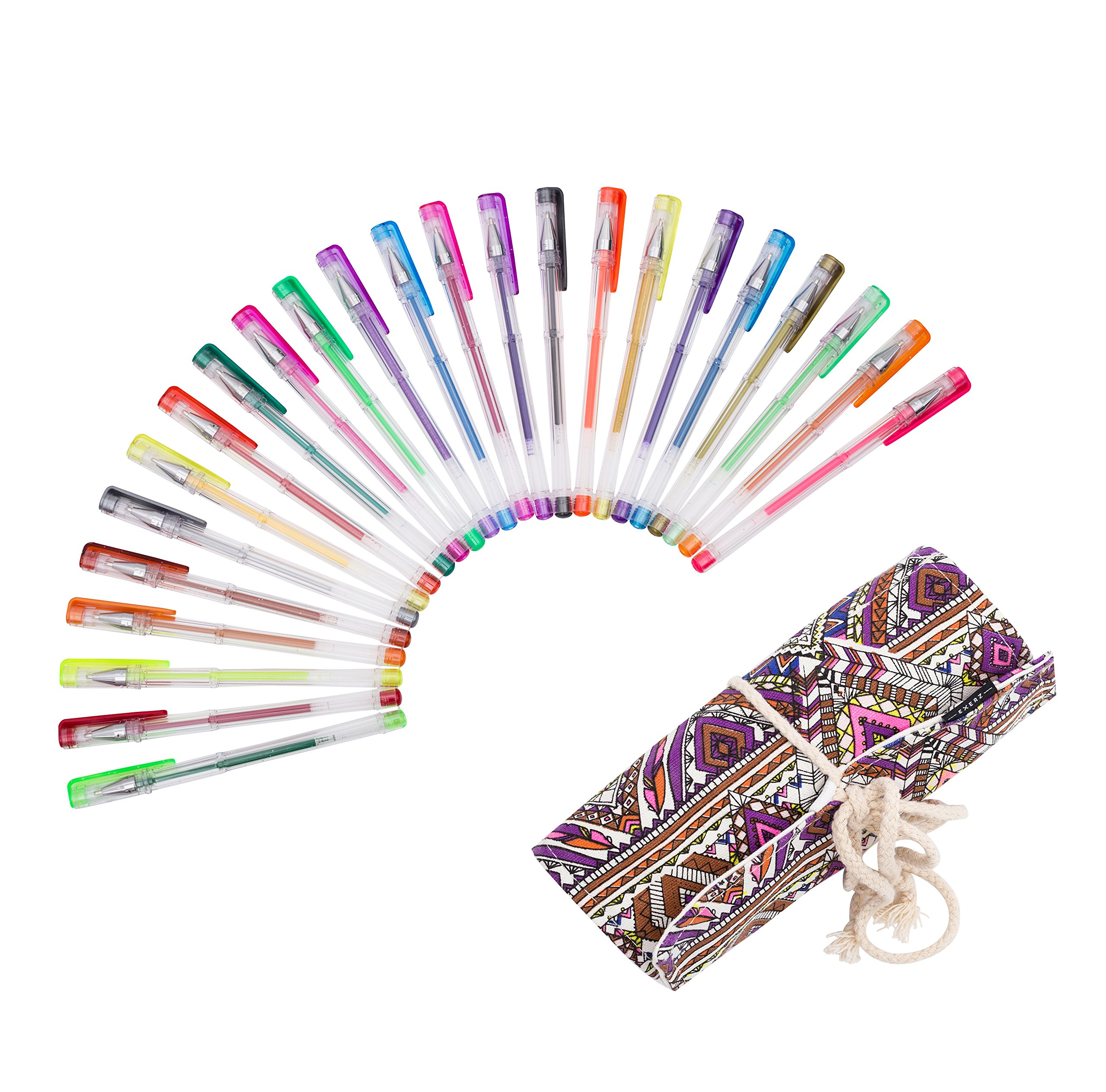 Exerz ART 24 PCS colour gel pens set with a string wrap – roll up pouch, fine ink ballpoint pens,, vibrant color, free flowing, glitter pens, neon, metallic and glitter neon