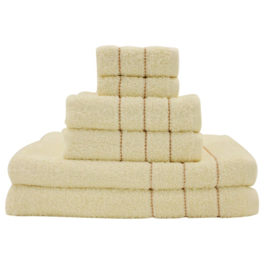 PROMIC 100% Cotton Towel Set - Include 2 bath towels, 2 hand towels, and 2 washcloths - 400 GSM, Absorbent,Machine washable ,Yellow