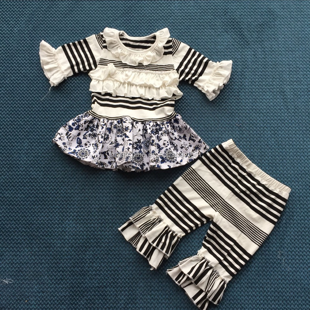 black and white little flower knitted fabric boutique long sleeve skirt and ruffle pants wholesale nature kids suits