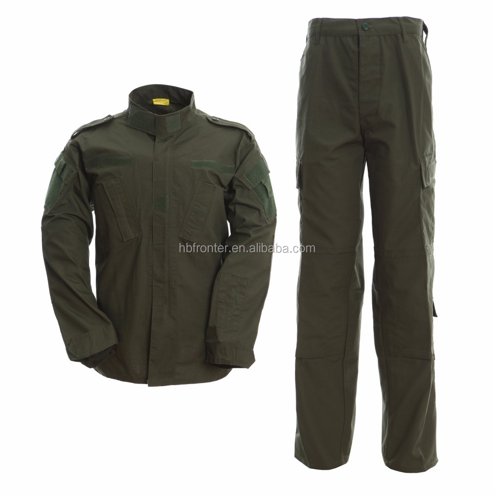 Unisex military uniform in olive green color for tactical security