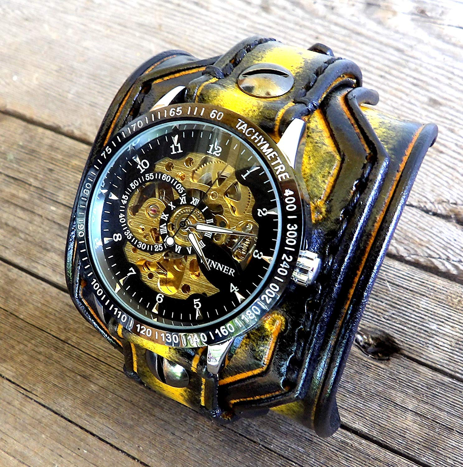 Black and Yellow Watch Cuff, Steampunk Leather Watch Cuff, Men's watch, Leather Wrist Watch, Leather Cuff, Bracelet Watch,