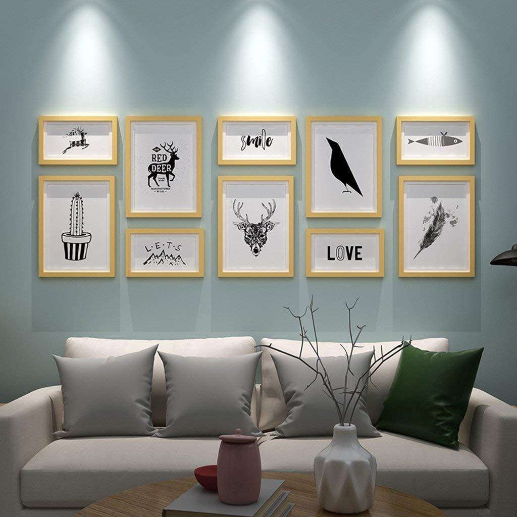 KTYX Simple Modern Living Room Photo Wall Decoration Photo Frame Wall European Photo Frame Creative Hanging Wall Combination Photo Wall Art picture frame (Color : Wood color photo frame)