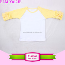 Children cotton icing ruffle sleeve blank t-shirt yellow sleeve shirt baby boy raglan teen baseball girl t-shirt for size 0-10 T