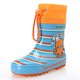 cute pretty low cut boys size orange blue strips rubber wellies rain boots shoes for kids