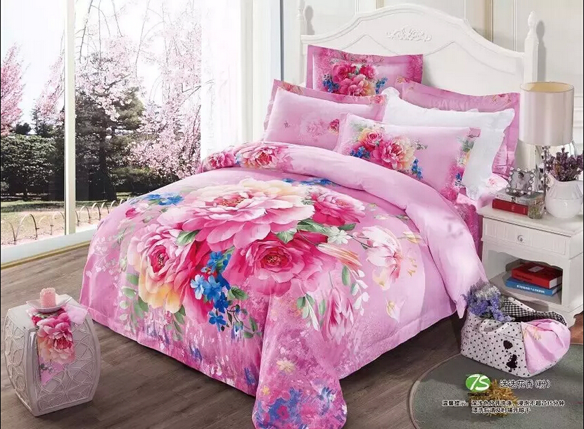3d full queen fitted sheet size 4pieces bed sheet set 5pieces bedding set bed linens peony for. Black Bedroom Furniture Sets. Home Design Ideas