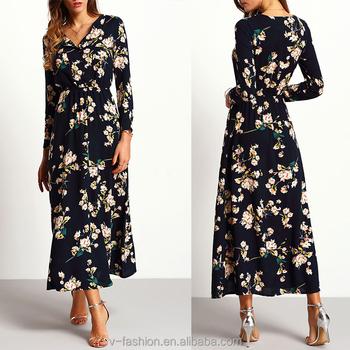 Manga vestidos marino floral gasa azul larga mujeres maxi de 6Oxw6n