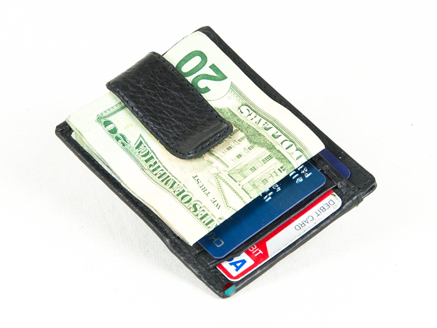 b76b519cade2 Goson Leather Money Clip   Credit Card Holder - Leather Wrap Spring Clip  only P P Inc