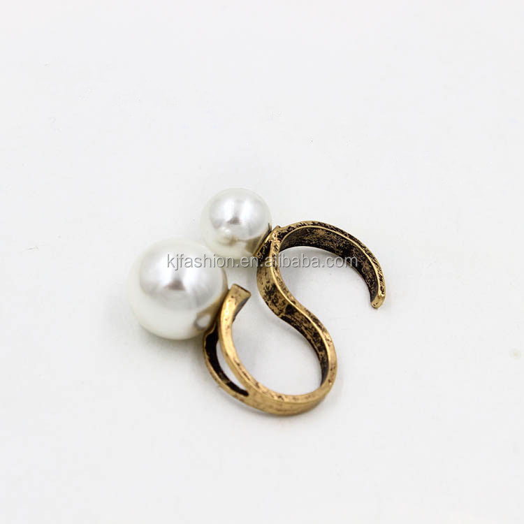 Cute two finger ring with pearl ,two finger ring,two in one ring ...