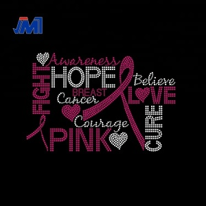 e191a7b35a Breast Cancer Awareness iron on Rhinestone transfer design