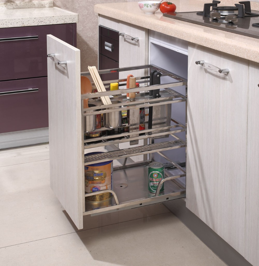 213 cabinet pull out drawer basket and stainless steel for Stainless steel drawers kitchen
