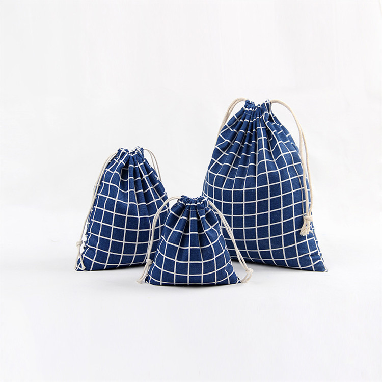 Factory wholesale Cheap simple plaid pattern cotton drawstring bag