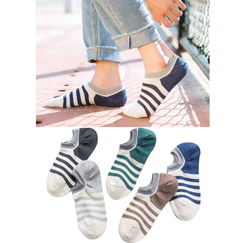 f885607f2115 Get Quotations · No Show Socks Mens Cotton Low Cut Socks Non-Slip Grips  Casual Low Cut Multicolor