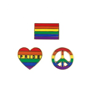 Custom Heart Shaped Rainbow Lead Free Brass Enamel Lapel Pin Badge For Gay Pride Events