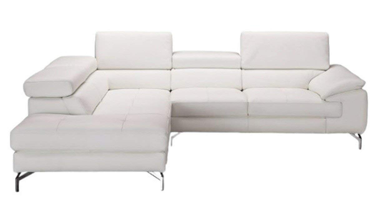J&M Furniture Nila A973 Leather Left Facing Sectional Sofa in White