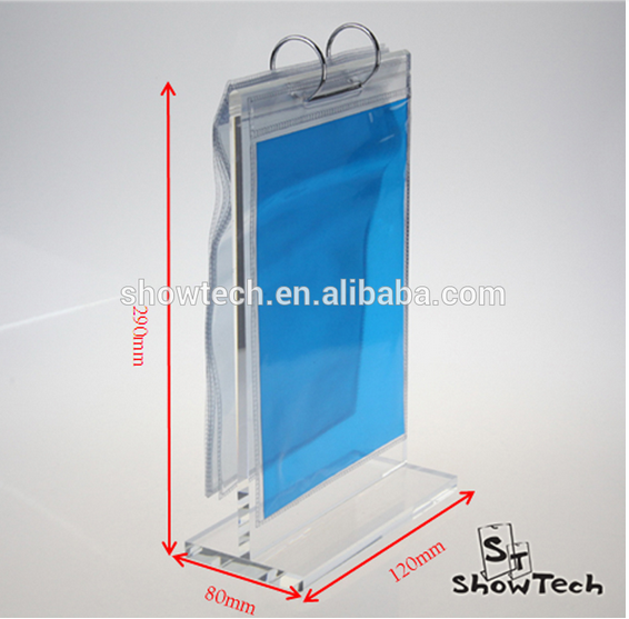 Hot selling desktop clear acrylic flip menu holder/ roll menu stand/table tent