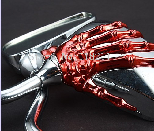 Новый 2014 8 мм и 10 мм универсальный мотоцикл зеркала заднего вида красный монстр череп коготь