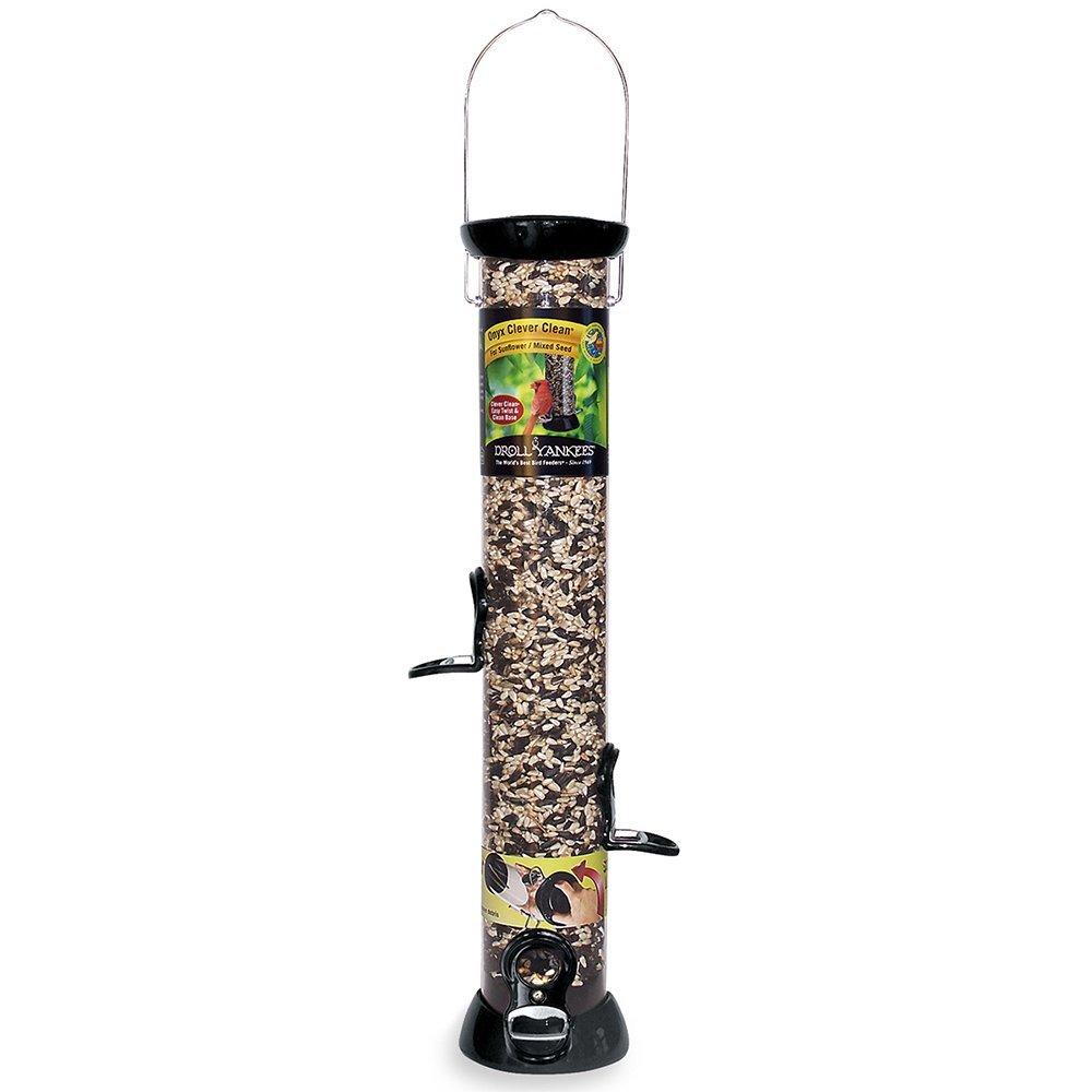 Droll Yankees Bird Feeder, Sunflower Hanging Tube Bird Feeder, Onyx Clever Clean CC18S, 18 Inch, 4 Feeding Ports