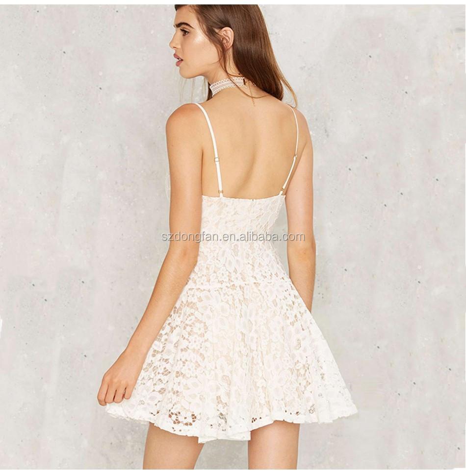 Putih Renda Tali Spaghetti Musim Panas Pendek Mini Dress Wanita Sexy