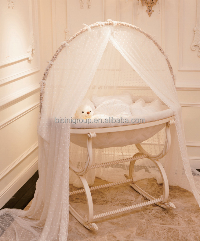 European Royal Wooden Baby Cradle Swing,Antique Ivory & Gold Baby ...