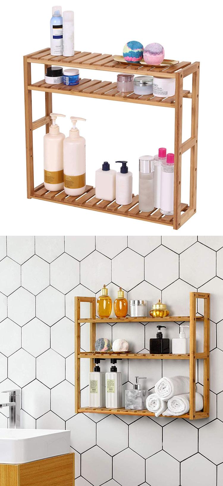 Utility Storage Bamboo 3-Tier Adjustable Layer Wall Mounted Organizer Towel Shelf For Bathroom 3