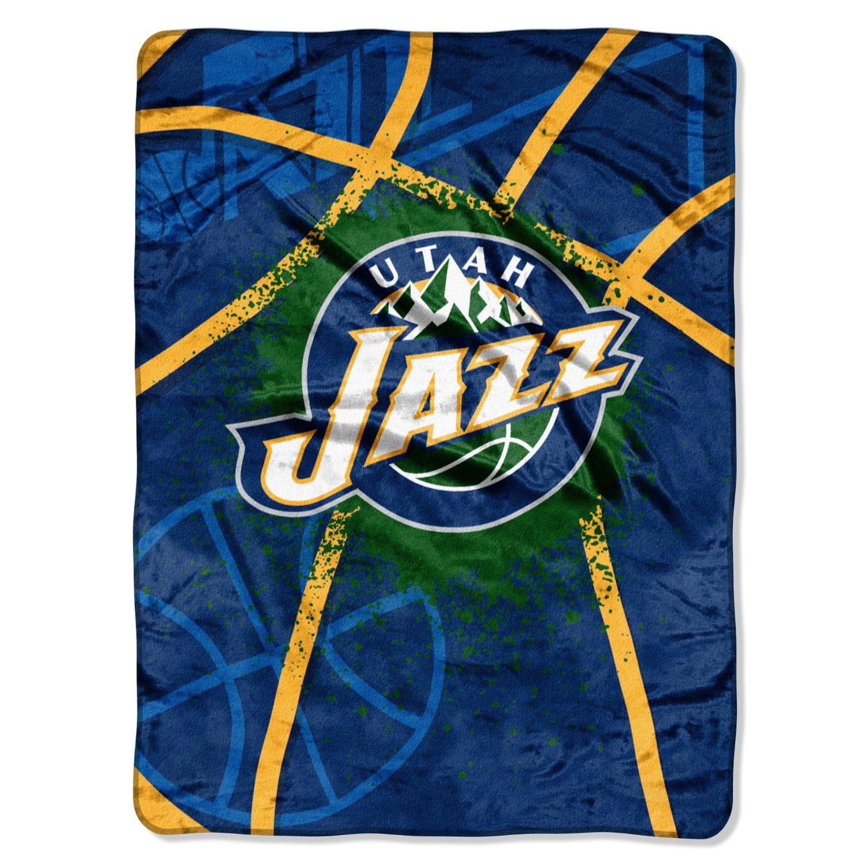 NBA Utah Jazz Shadow Play Royal Plush Raschel Throw Blanket, 60x80-Inch