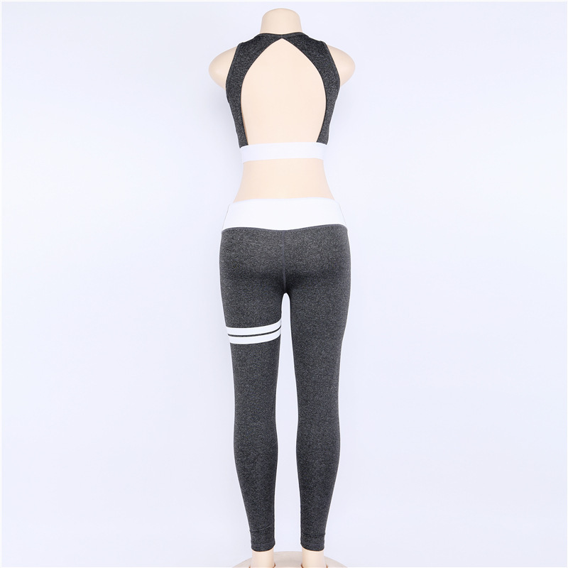 Women Backless Yoga Sets Fitness Sport Bra Long Pants Leggings Set Gym Running Sport Suit Set Workout Clothes for Ladies