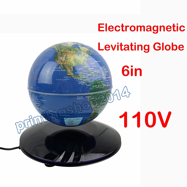 Get Quotations · 6in LED Magnetic Levitation Globe Rotation Office Desk  Decoration Gift 110V