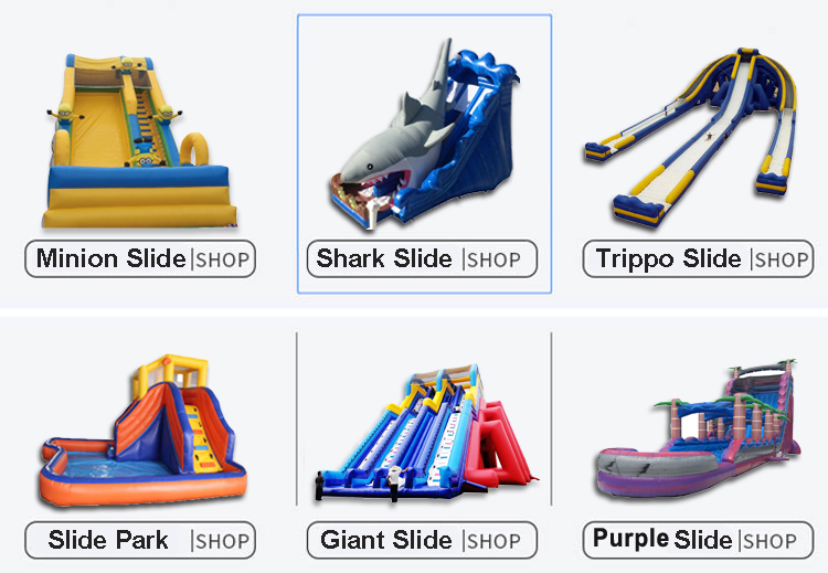 Small Inflatable Bounce Stair Dry Slides Game Jungle Shark Inflatable Slide Kids For Sale