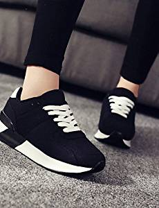 AIU Women's Shoes Tulle Flat Heel Platform/Round Toe Fashion Sneakers/Athletic Shoes Outdoor/Athletic/Casual Black/Pink