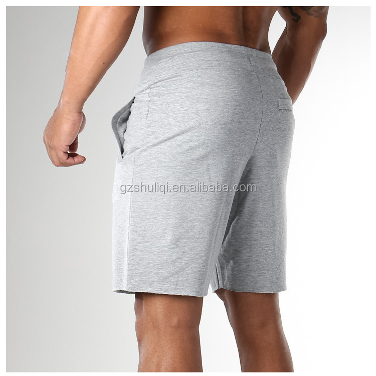 Drawstring waist 100% cotton gym running grey sports shorts/ custom men cotton casual shorts wholesale H-2498