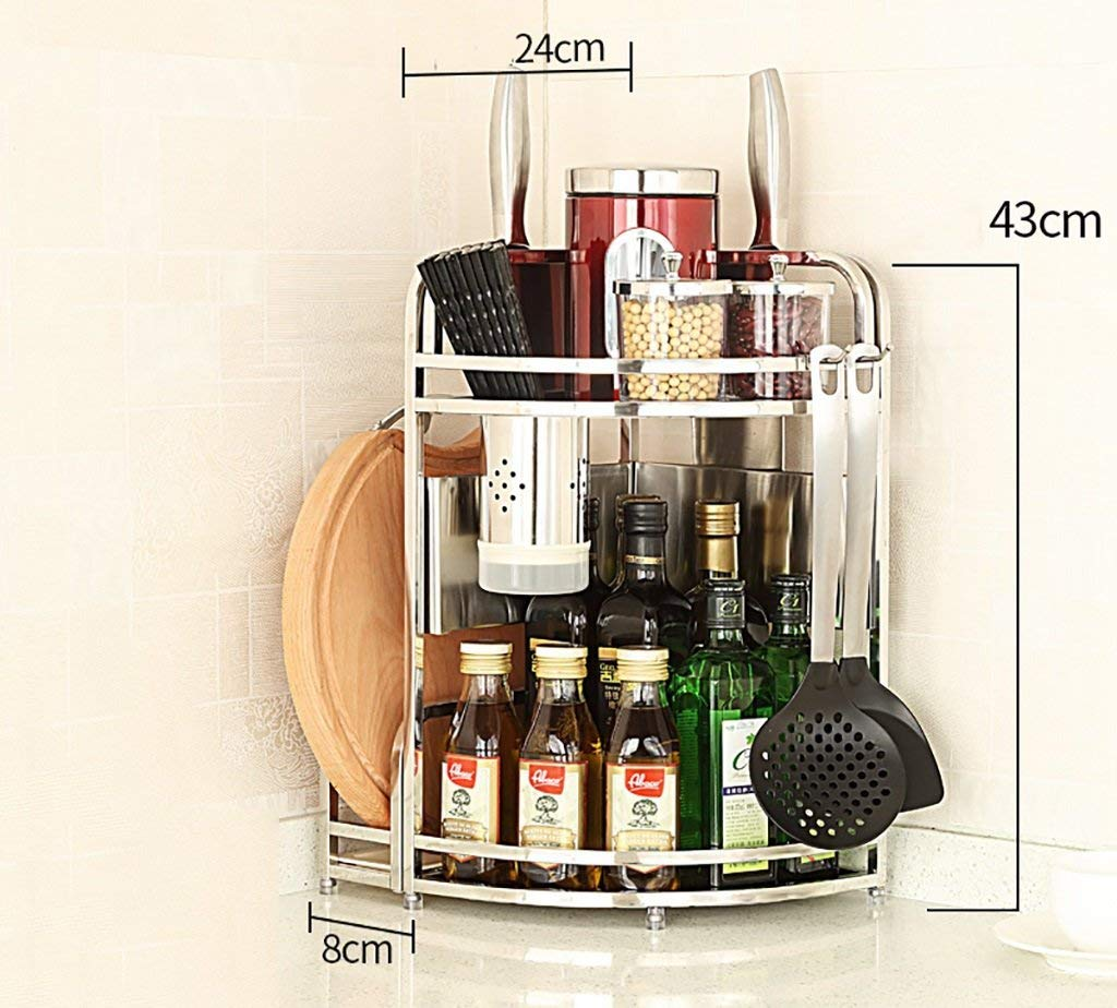 Stainless Steel Corner Shelf Kitchen Kitchen Canisters Pottery