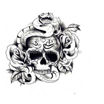 Large temporary tattoos skull snake design fake tattoo stickers