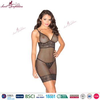 93699d64e Secret Temptations black hollow-out lace mini chemise women model plus size  sexy lingerie