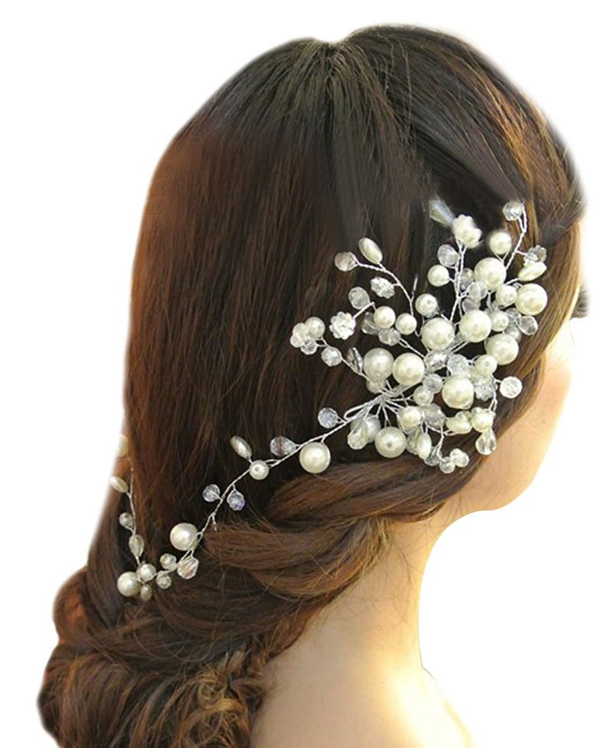Simulated Crystal and Faux Pearl Bouquet Bridal Hair Accessory, White, One Size