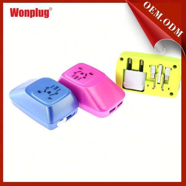 2014 Wonplug popular item worldwide travel adaptor with safety children shutter